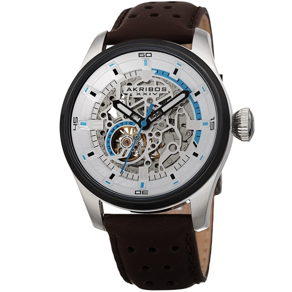 Akribos XXIV Men's Automatic Skeleton Perforated Brown Leather Strap Watch. Opens flyout.