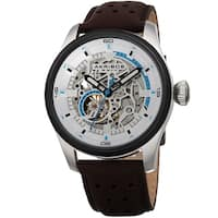 Akribos XXIV Men's Automatic Skeleton Perforated Brown Leather Strap Watch