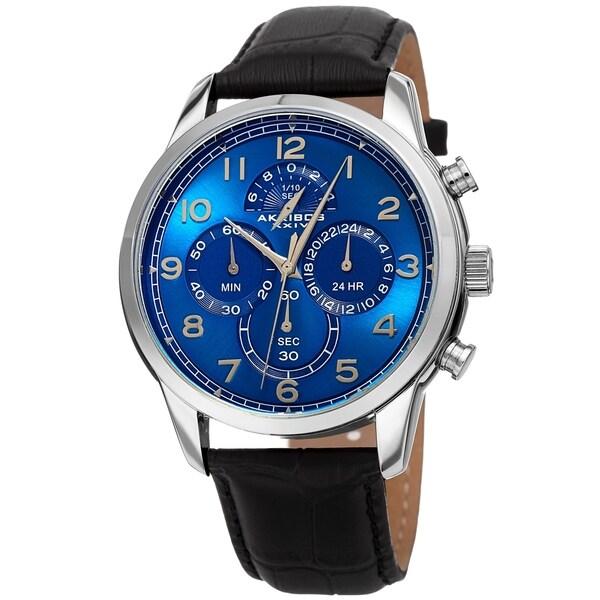 dd89bec8ada2 Akribos XXIV Men  x27 s Chronograph Classic Blue Black Leather Strap Watch
