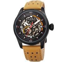 Akribos XXIV Men's Automatic Skeleton Perforated Tan Leather Strap Watch