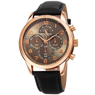 Akribos XXIV Men's Chronograph Classic Black Leather Strap Watch
