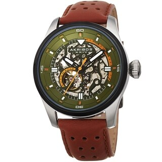 Akribos XXIV Men's Automatic Skeleton Perforated Chestnut Brown Leather Strap Watch