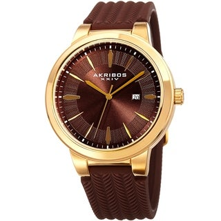 Akribos XXIV Men's Quartz Gold-Tone Brown Soft Silicone Strap Watch