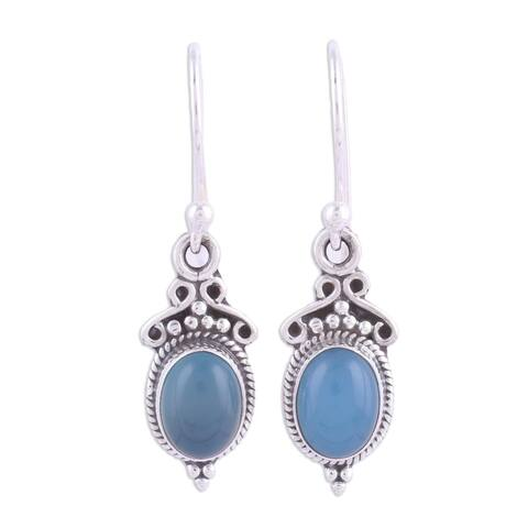Handmade Sterling Silver 'Elegant Gloss in Blue' Chalcedony Earrings