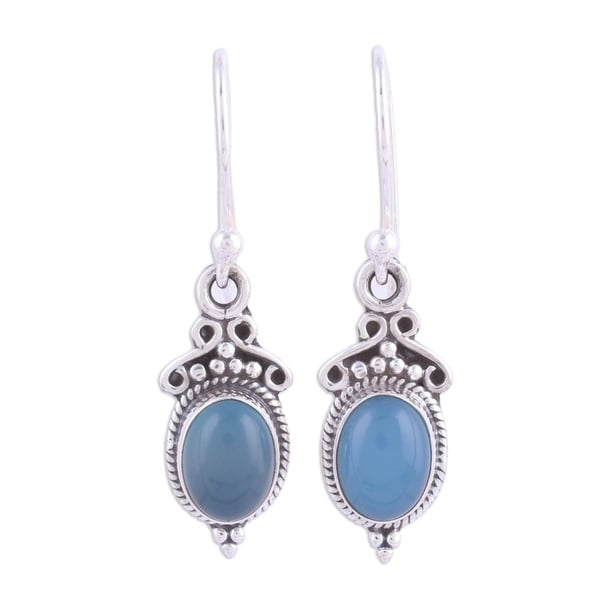 Handmade Sterling Silver 'Elegant Gloss in Blue' Chalcedony Earrings. Opens flyout.