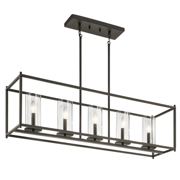 crosby collection large pendant light. Kichler Lighting Crosby Collection Olde Bronze Steel 5-light Linear Chandelier With Clear Glass Cylindrical Large Pendant Light C