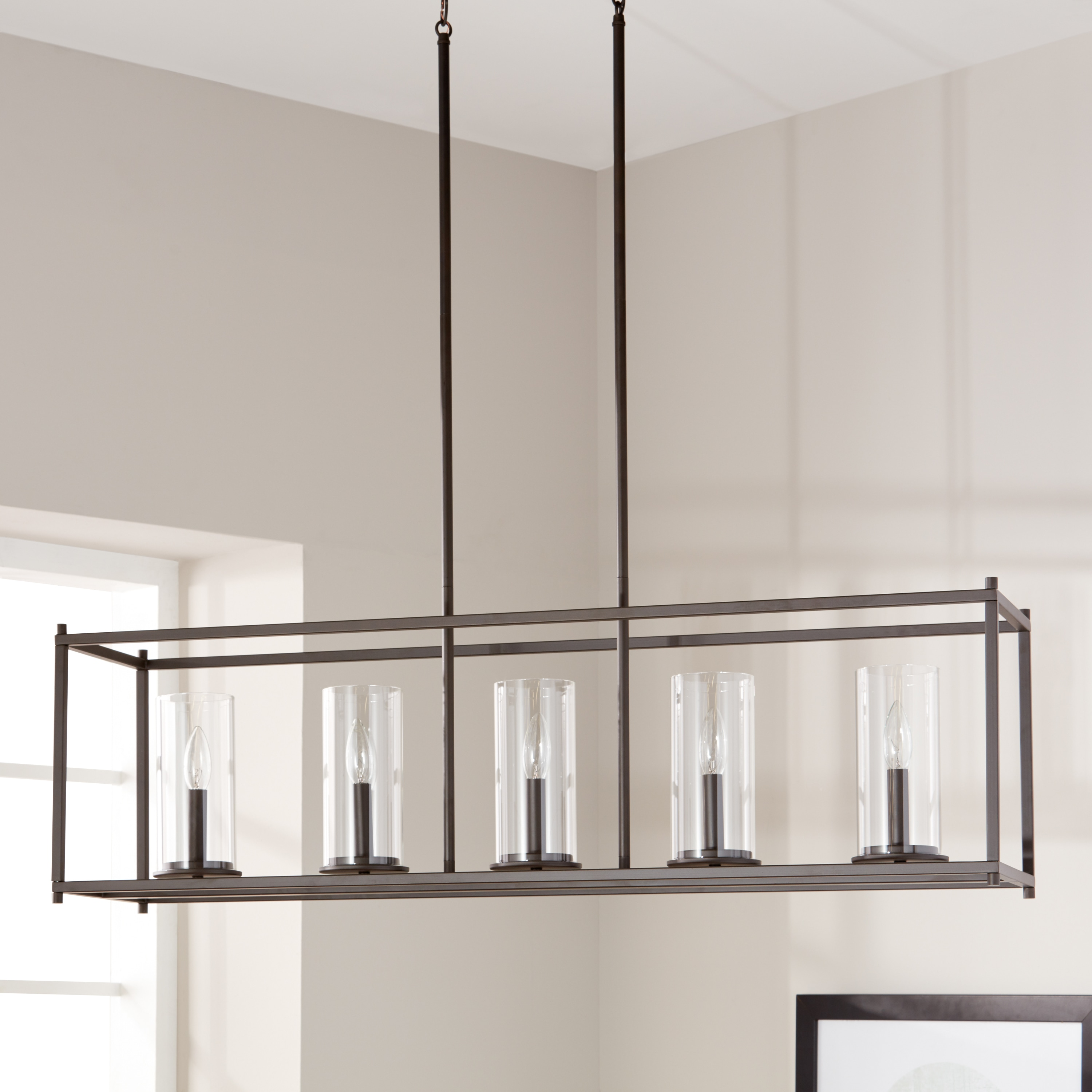 Clay Alder Home Olde Bronze Steel 5-light Linear Chandelier with Clear Glass Cylindrical Shades