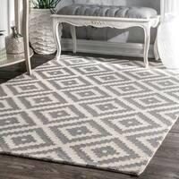 nuLOOM Handmade Abstract Wool Fancy Pixel Trellis Grey Rug - 10' x 14'