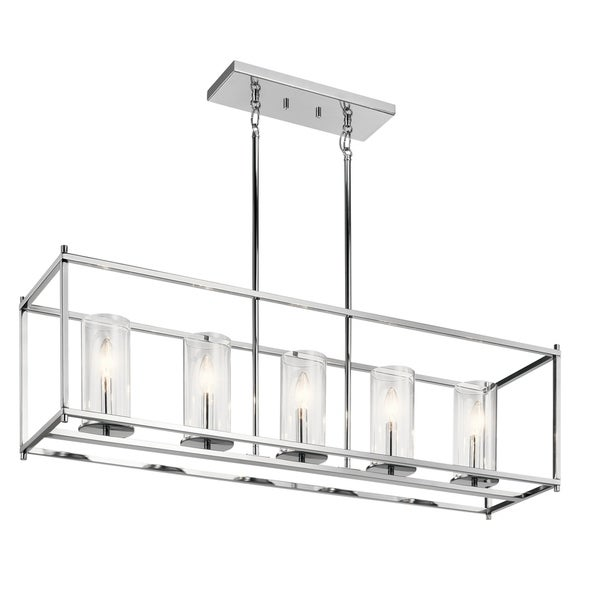 Kichler Lighting Crosby Collection Chrome Finish with Clear Glass Shades 5-light Linear Chandelier