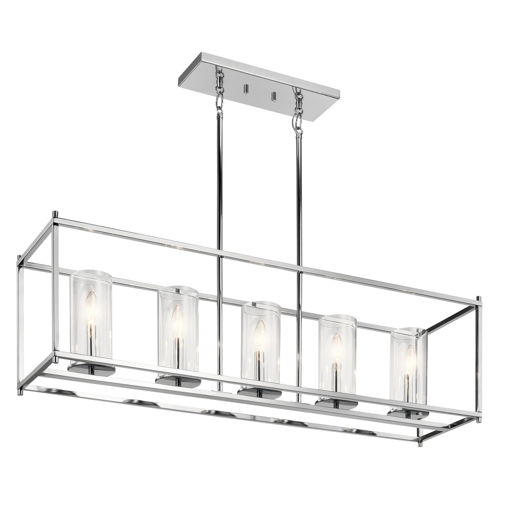 Clay Alder Home Chrome Finish with Clear Glass Shades 5-light Linear Chandelier