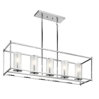 Clay Alder Home Chrome Finish with Clear Glass Shades 5-light Linear Chandelier - Thumbnail 0