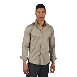 OTB Brand Men's Fitted Dress Button Down Shirt Brown