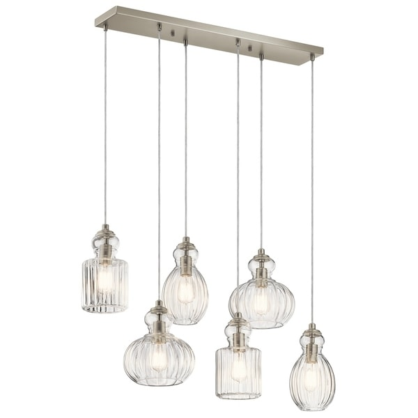Kichler Lighting Riviera Collection 6-light Brushed Nickel Linear Chandelier - Brushed nickel