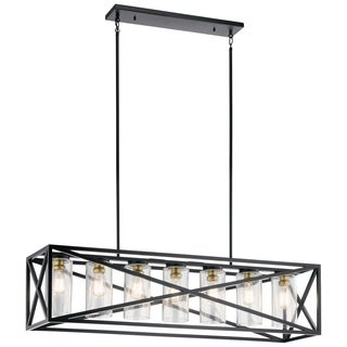 Kichler Lighting Moorgate Collection Black Steel/Glass 7-light Linear Chandelier