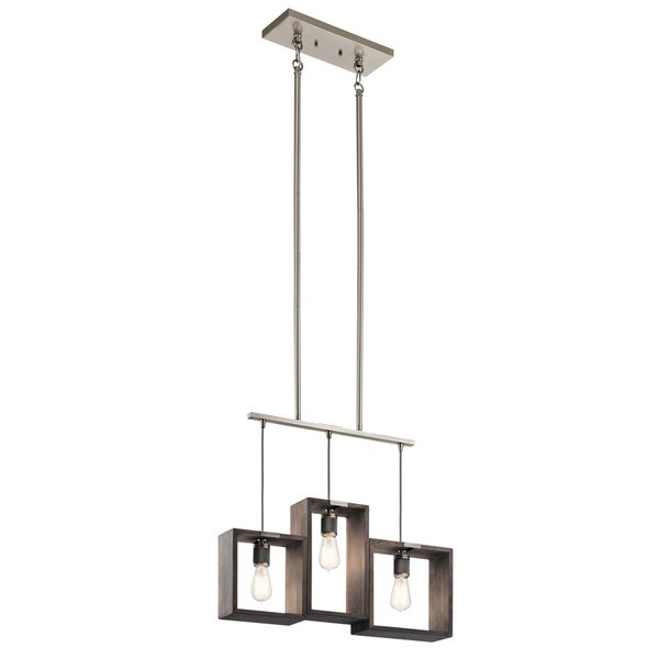 Kichler Lighting Industrial Frames Collection 3-light Classic Pewter Linear Chandelier