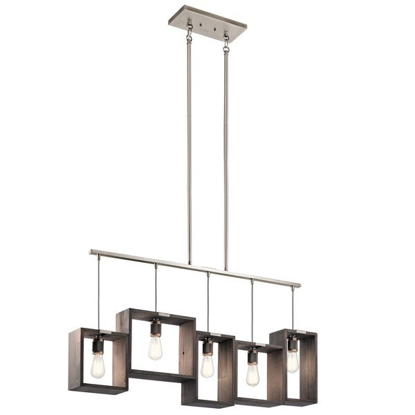 Kichler Lighting Industrial Frames Collection 5-light Classic Pewter Linear Chandelier