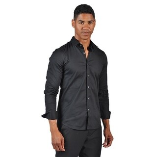 OTB Brand Men's Fitted Dress Button Down Shirt Black