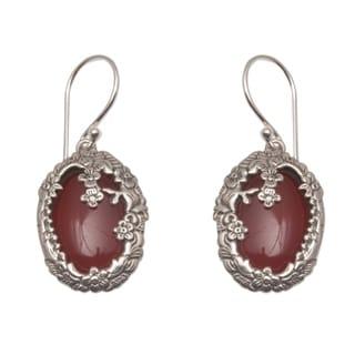 Handmade Sterling Silver Dreamy Forest Carnelian Earrings Indonesia