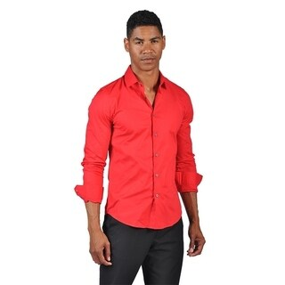 OTB Brand Men's Fitted Dress Button Down Shirt Red