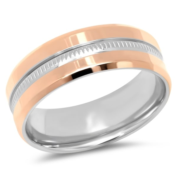 Steeltime Men's Rose Gold Tone Stainless Steel Band Ring with Stainless Steel Inlay. Opens flyout.