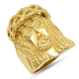 Link to Steeltime Men's Gold Tone Stainless Steel Jesus Head Ring Similar Items in Rings