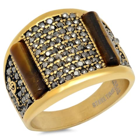 Steeltime Men's Gold Tone Stainless Steel Tiger Eye and Black Cubic Zirconia Ring