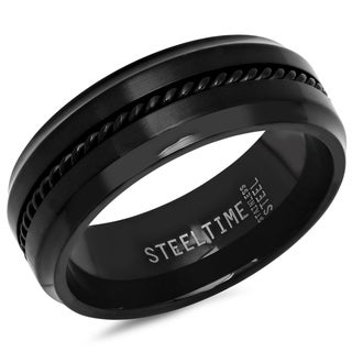 Link to Steeltime Men's Stainless Steel Band Ring with Twist Inlay in 2 Colors Similar Items in Rings