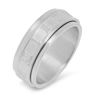 Link to Steeltime Men's Stainless Steel Roman Numeral Spinner Ring in 2 Colors Similar Items in Rings