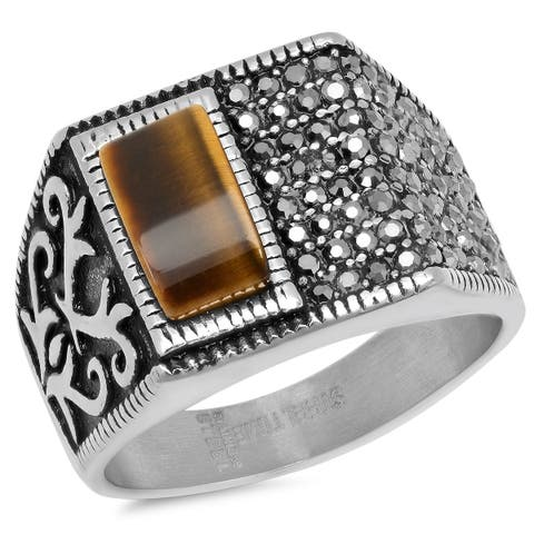 Steeltime Men's Stainless Steel Black Cubic Zirconia and One-Sided Tiger Eye Ring in 2 Colors