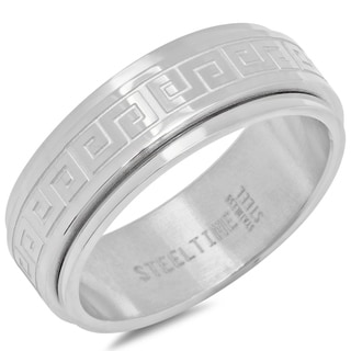 Link to Steeltime Men's Stainless Steel Greek Key Spinner Ring in 2 Colors Similar Items in Rings