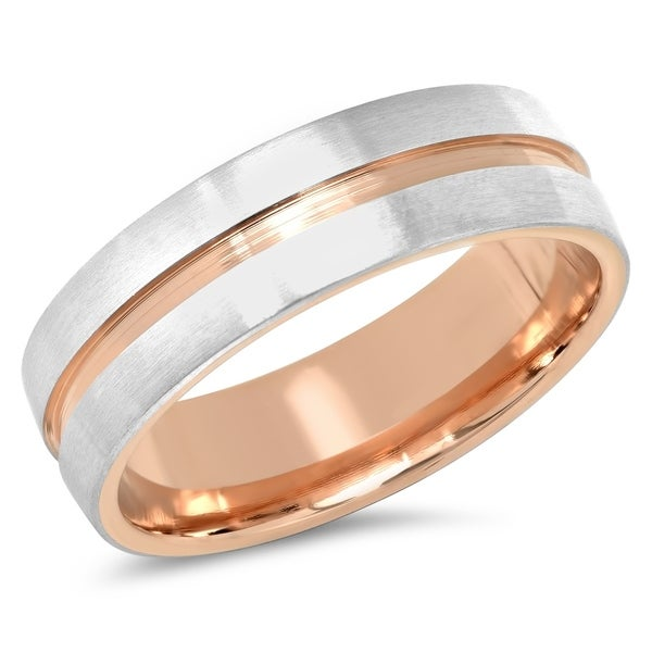 Steeltime Men's Stainless Steel Matte Band Ring with Rose Gold Tone Stainless Steel Inlay. Opens flyout.