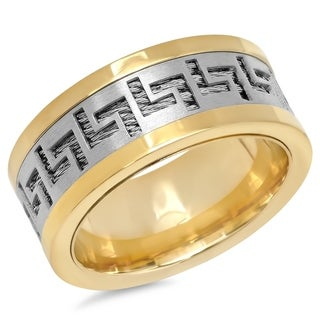 Link to Steeltime Men's Two-Tone Stainless Steel Ring with Greek Key and Wire Inlay Similar Items in Rings