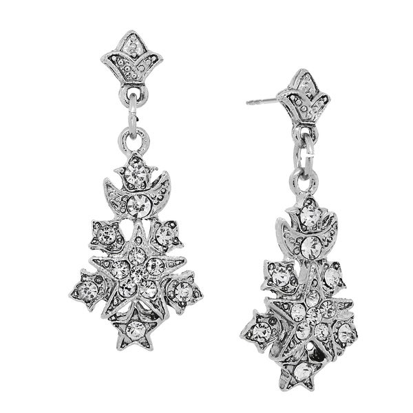 Downton Abbey Silver Tone Belle Epoch Starburst Pave Crystal Accents Drop Earrings