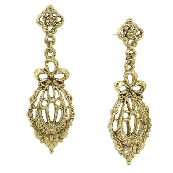Downton Abbey Gold Tone Belle Epoch Bow Filigree Drop Earrings