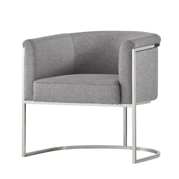 Magnificent Shop Dylan Grey Linen Curved Back Chrome Accent Chair By Dailytribune Chair Design For Home Dailytribuneorg