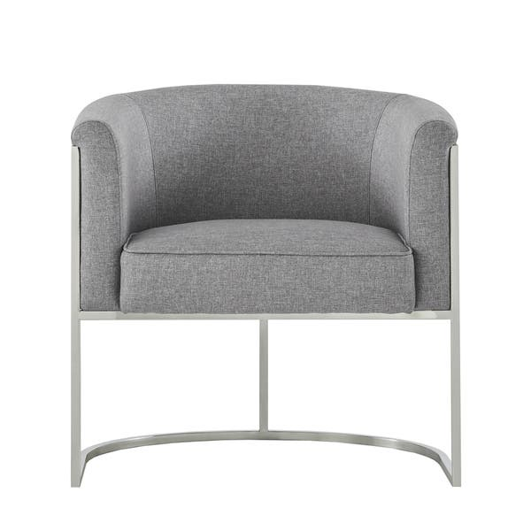 Astounding Shop Dylan Grey Linen Curved Back Chrome Accent Chair By Dailytribune Chair Design For Home Dailytribuneorg
