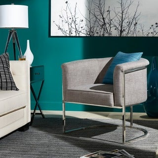 Dylan Grey Linen Curved Back Chrome Accent Chair By INSPIRE Q Modern