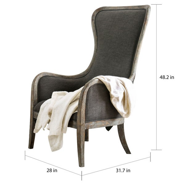 Furniture of America Lysa Rustic Grey Wingback Accent Chair