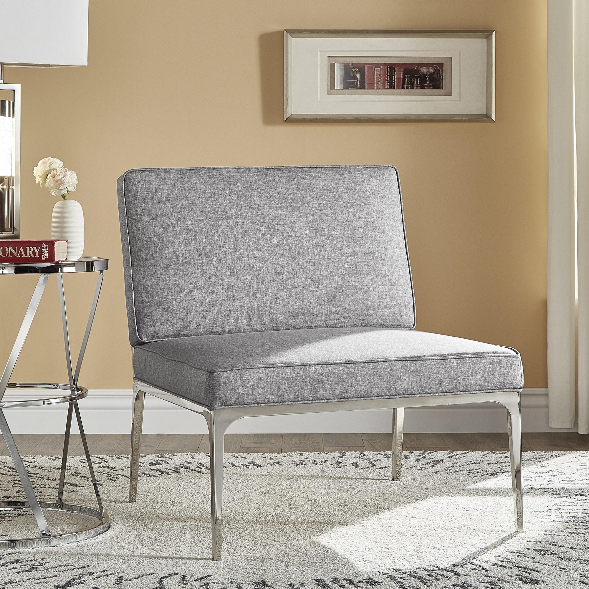 Pleasing Dylan Grey Linen Armless Chrome Accent Chair By Inspire Q Modern 79 X 1010 Cjindustries Chair Design For Home Cjindustriesco