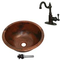 Unikwities 13.5X5 Copper Sink with Centerset Faucet and Drain