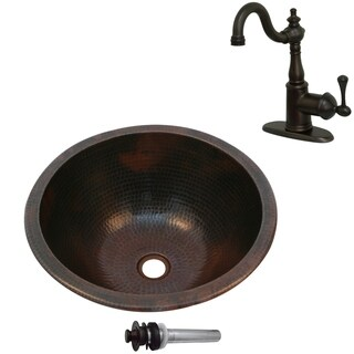 Unikwities 14.5X6.5 Copper Sink with Centerset Faucet and Drain