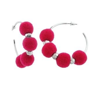 Eternally Haute Multi Pom Poms Hoop Earrings - Coral