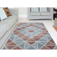 Waverly Geometric Orange Hand-Tufted Rug - 7'6 x 9'6