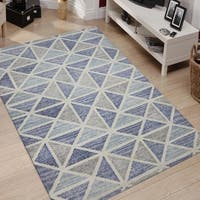 Waverly Geometric Smoke Gray Hand-Tufted Rug 7'6x9'6 - 7'6 x 9'6