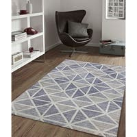 Waverly Geometric Steel Blue Hand-Tufted Rug - 5'x 8'