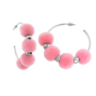 Eternally Haute Pink Pom Poms Hoop Earrings