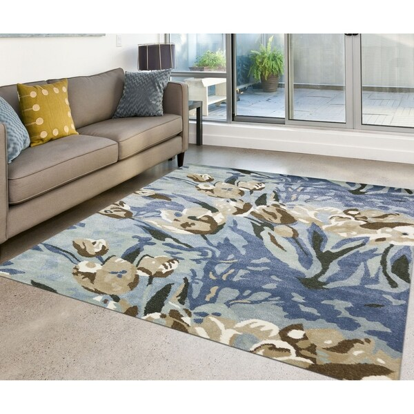 Shop Hand-Tufted Glisten Aqua Blended Argentina Wool And