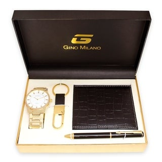 Men's Gold Watch Gift Set With Wallet, Pen & Key Chain -Gold White