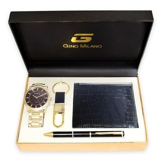 Men's Gold Watch Gift Set With Wallet, Pen & Key Chain -Brown