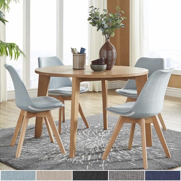Arlo Round Light Oak 5 Piece Dining Set By Inspire Q Modern